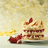 Puff pastry fancy with cream and berries