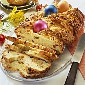 Sweet Easter plait, partly sliced