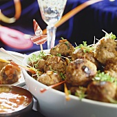 Meatballs with herbs and spicy sauce