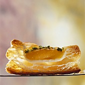 Apricot puff pastry tart, cross-section