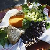 Still life with cheese and grapes