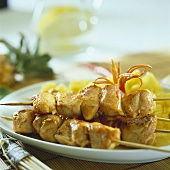 Chicken kebabs with pineapple chilli sauce
