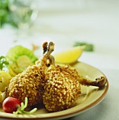 Chicken legs with almond crust