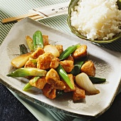 Asian chicken with spring onions