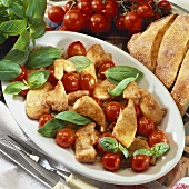 Pan-fried chicken with glazed cherry tomatoes