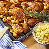 Crispy chicken legs with shallots and pineapple salad