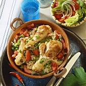 Braised chicken legs with vegetable rice