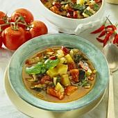 Tomato, potato, chard and sausage (Mettwurst) stew
