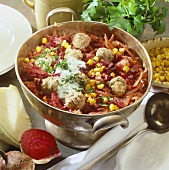 Beetroot stew with sweetcorn and meatballs