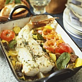 Oven-baked monkfish