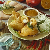 Fish in batter and deep-fried glass noodles