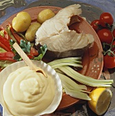 Cod cutlet with vegetables and mayonnaise