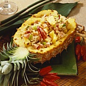 Fried rice with ham, chilli and pineapple