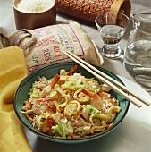 Ceylon-style fried rice (with veg, omelette, chicken, shrimps)