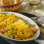 Pasta capelli d`angelo (angel's hair pasta) with prawns