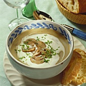 Creamed mushroom soup with chives