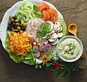 Colourful mixed raw vegetable salad with aioli