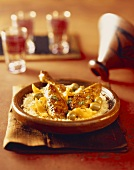 Chicken tagine with olives, salted lemons, couscous (Morocco)