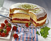 Strawberry cream cake with rose liqueur