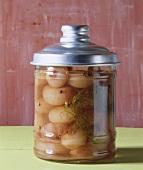 Silverskin onions pickled in vinegar