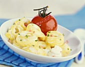 Tortellini with soft cheese and baked tomato