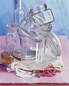 Utensils for bottling (jars, elastic bands etc.)