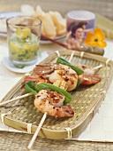 Grilled prawn skewers with mangetout