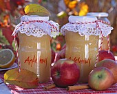 Apple puree in jars, apples, autumn leaves & cinnamon sticks