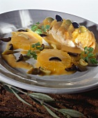 Chicken breast with olive and orange sauce