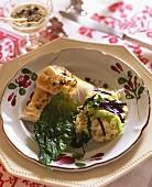 Zander with three types of cabbage
