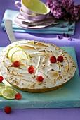 Ein Baiserkuchen mit Limetten und Himbeeren