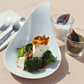 Broccoli and feta salad with walnuts and bacon