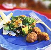 Lentil balls with salad