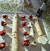 Strawberries and milk on Swedish Midsommar buffet