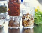 Pickled mushrooms, tomatoes, shallots and sheep's cheese