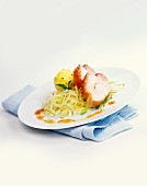 Roast pork with dumpling and white cabbage
