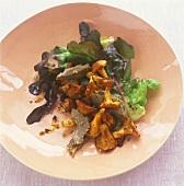 Warm artichoke and chanterelle salad