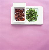 Crispy duck with watercress and mangetout salad