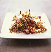 Red rice salad with red kidney beans, feta and dill