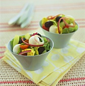 Mixed salad with baby mozzarella in two bowls
