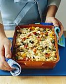 Kritharaki (rice-shaped pasta) and vegetable bake