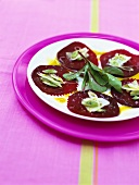 Beetroot carpaccio with Manchego cheese and pistachio oil