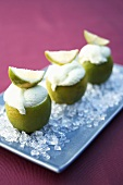 Lime ice cream in hollowed-out limes