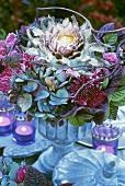 Flower arrangement in blue