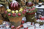 Outdoor Christmas decoration with apples and dogwood