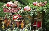 Christmas decoration with gilded pomegranates