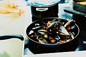 Mussels in frying pan on cooker