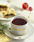Borscht (beetroot soup) in a Christmassy soup cup