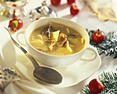 Mushroom soup with noodles, Christmas decorations