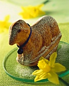 Baked Easter lamb cake with icing sugar